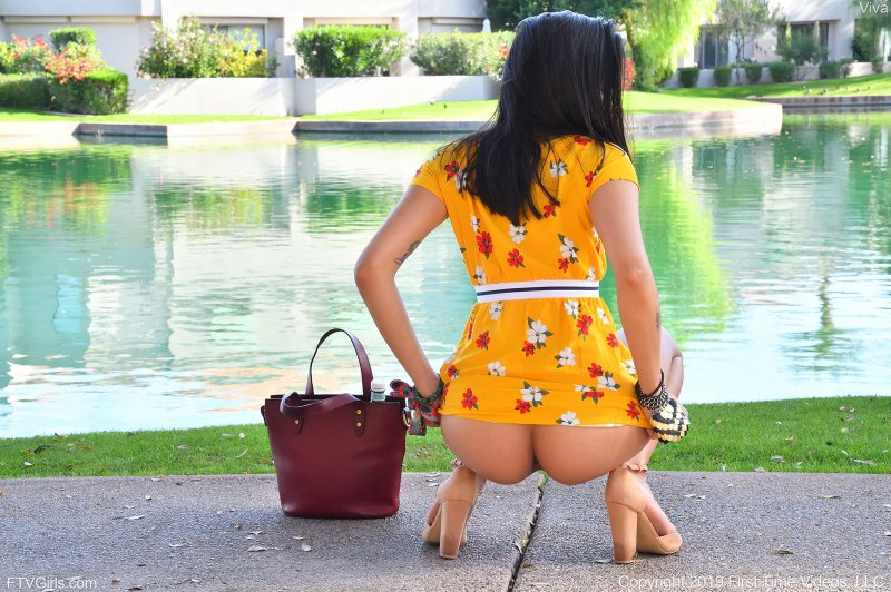 Брюнетка в платье показала письку на улице - фото