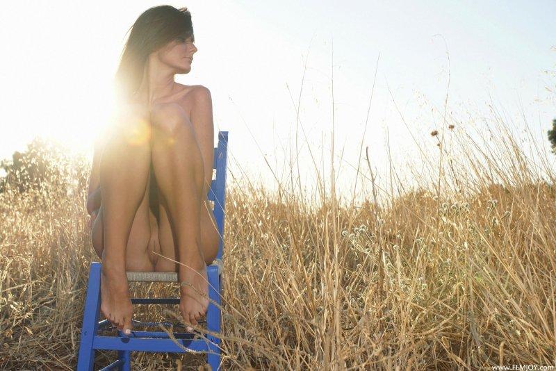 Деревенская голая худышка на стуле в поле - фото