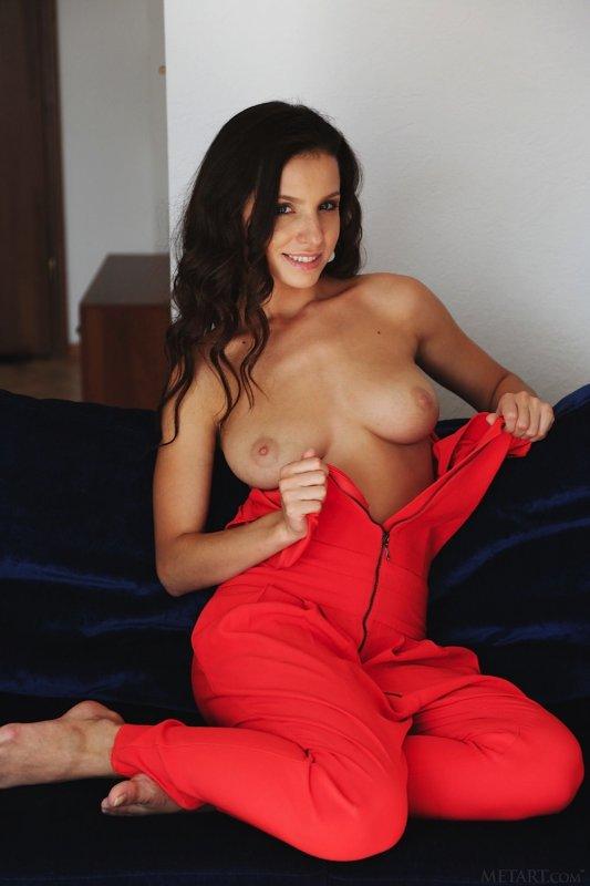 Голая сексуальная брюнетка на диване - фото