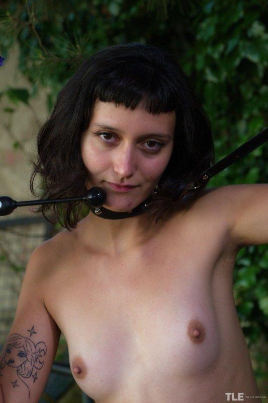 Голая девушка с волосатой пиздой в ошейнике - фото