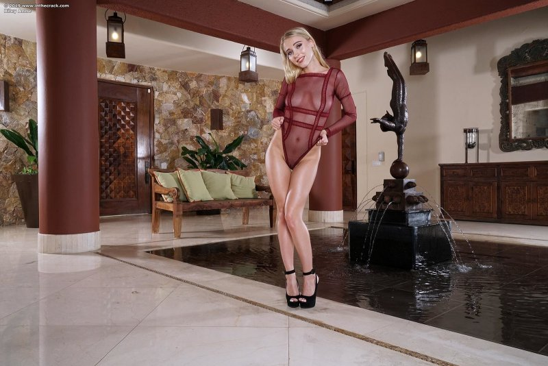 Блондинка скачет на большом чёрным дилдо - фото