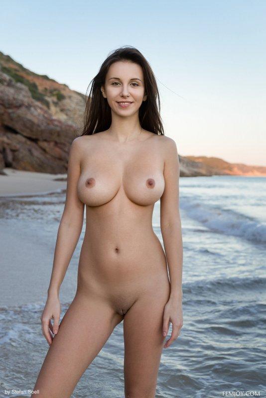 Сексуальная голая девушка гуляет на пляже - фото