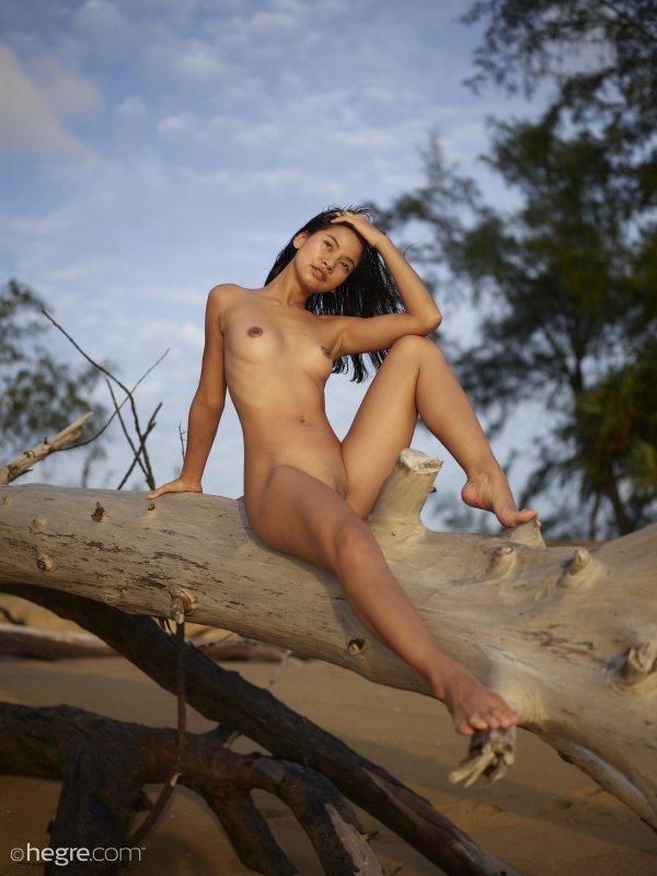 Молодая голая азиатка на пляже - фото